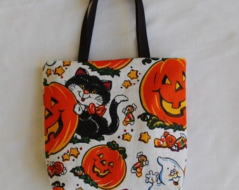 Halloween Fabric Gift Bag/ Party Favor Bag/ Halloween Goody Bag- Black Cat, Ghost and Jack-o-lantern