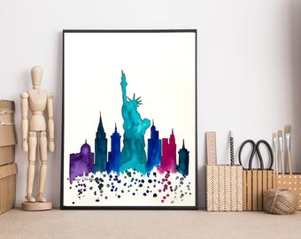New York Skyline, New York painting, City art, Watercolor Painting, Statue of Liberty, Illustration art, Travel art Print, Holiday Gift