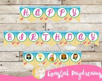 Luau Happy Birthday Banner, Hawaiian Luau Party Banner, Luau party decorations, Hawaiian Birthday Party Decor