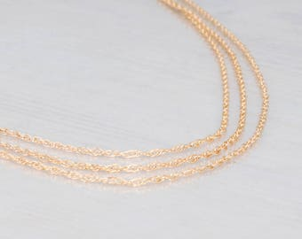 Gold Filled Choker Necklace, Double Layer Necklace, Short Necklace, Dainty Necklace, Unique Chain Necklace, Necklace Set, Sterling Silver