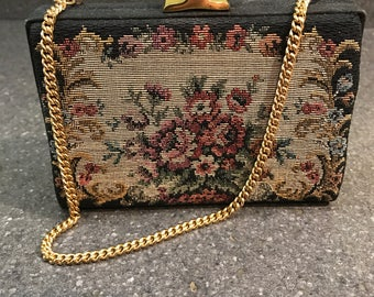 Vintage Needlepoint Box Purse