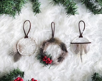 Dream Catcher Ornament, Bohemian Christmas Ornament Set, Holiday Gift for Friends, Nordic Snowfall, Mini Dreamcatcher, Boho Christmas Tree