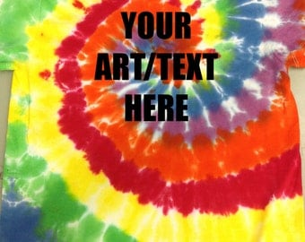 Custom Printedwith YOUR ART or TEXT on a Multi-Color Spiral Tie Dye Tee - Adult or Youth Unisex sizes