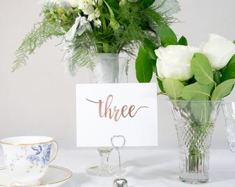 Rose Gold Foil Calligraphy Table Numbers Handmade Wedding #0125