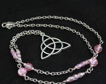 Silver metal with pink beads and triquetra pendant chain necklace