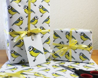 Bluetit Wrapping Paper British Bird Gift Wrap + Tags Full Sheets 50x70cm