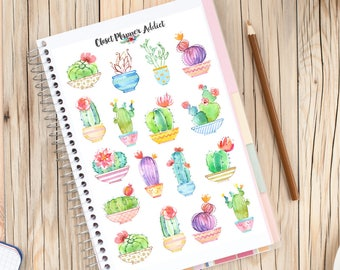 Cute Watercolour Cactus Planner Stickers | Limited Release | Mystery Grab Bag April 2017 | Cactus Stickers | Succulents Stickers (MGB-APR17)