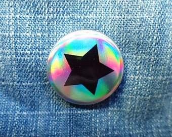 Star pin | holographic button badge 25mm