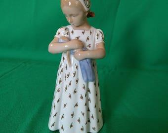 Bing and Grondahl, B&G Denmark #1721, Figurine of a girl holding a doll, Porcelain Figurine, Vintage, Gift
