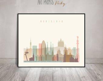 Barcelona poster, print, Wall art, Barcelona skyline, Spain art, City poster, Travel decor, Home Decor, Digital Print, ArtPrintsVicky