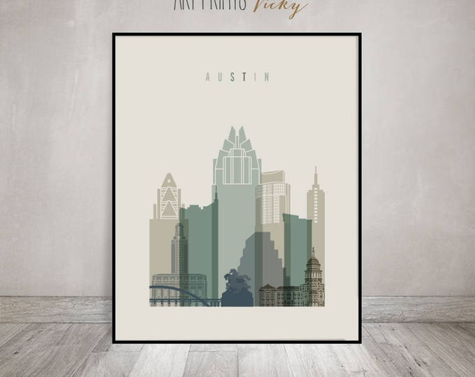Austin poster, print, Wall art, Texas cityscape, Austin skyline, City poster, Typography art, Home Decor, Digital Print, ArtPrintsVicky