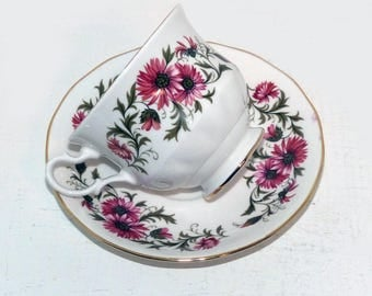 Royal Vale Vintage China Teacup and Saucer Bone China Signed Mums - 1892