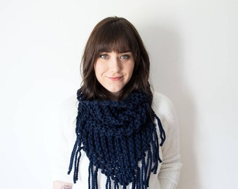 Knit Fringe Scarf Chunky Infinity Navy Blue Cowl in *Denim* - The 'Triangle Fringe' Circle Bandana