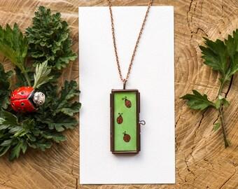 watercolor ladybug necklace ladybug pendant animal jewelry green necklace animal necklace copper jewelry handpainted watercolor pendant