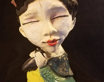 """OOAK (almost finished) """"Lucky Cricket"""" Japanese Woman Happiness Cricket sculpture"""