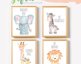 Safari Nursery Decor, Safari Nursery Wall Art Print Set of 4, Nursery Art Set, Baby Animal Paintings, Jungle Animals, Nursery Animals Art
