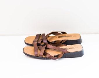 Brown leather minimalist sandals - Women's size 10 sandals - Leather sandals - Beach sandals - Summer sandals sz 10 - Strappy sandals