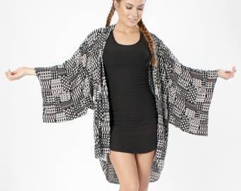 Bohemian Clothing, Kimono, Boho Kimono, Handmade Clothing, Kimono Cardigan, Kimono Jacket, Festival Clothing, Swimsuit Coverup, Aztec Tribal