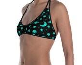 Alien Bikini Set for Women, Outer Space Bikini Swimsuit, Night Sky Printed Swimsuit, Ladies Swimwear