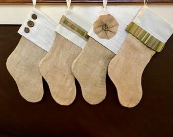 4 Rustic Green Burlap Stockings - name tag option - personalized burlap stocking