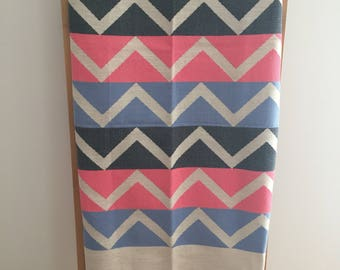 Beach towel, Fouta towel pink black motive blue chevron reversible / beach towel, fouta zigzag summer tunisian / lesptitskdo