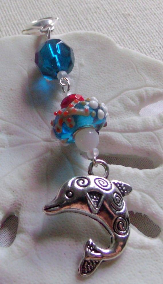 Dolphin zipper pull - aqua/teal lamp work beads - planner- sun  journal - purse clip art - red - white ocean charms -  fish - LizPoriginals