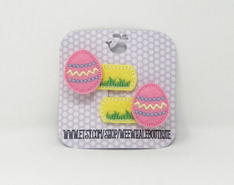 Easter Egg Alligator Hair Clips, Set of Two, Right and Left