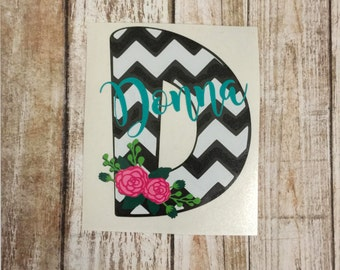 Black and White Floral Initial Decal   Monogram Decal   Yeti Decal   Car Decal   Laptop Decal   MacBook Decal   Personalized Sticker
