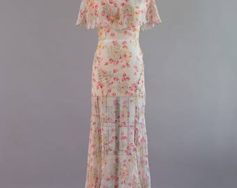 Antique 1920s 1930s cream and pink floral printed silk chiffon gown