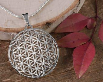 4cm SILVER Flower of Life Pendant - 19 Circle Sacred Geometry Jewelry, Seed of Life Pendant, Sacred Geometry Pendant, Silver Pendant E0468