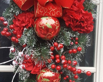 Red and Gold Wreath, Christmas Wreath, Hydrangea Wreath, Glass Ornament, Holiday Swag, Red and Gold Swag