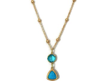 Aqua Glass Pendant Necklace, Glass Pendant Necklace, Aqua Jewel Necklace, Dainty Necklace, Gold Pendant Necklace, Aqua Necklace