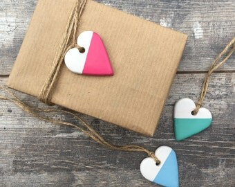 Set of 3 Geometric Heart Clay Tags - gift wrap tag, clay tag, clay decoration, heart charm, jar tag, wedding favour