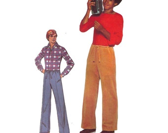 Simplicity 8359, 70s sewing pattern, size 34-36 men's drawstring pants, side pockets, elastic waist pants