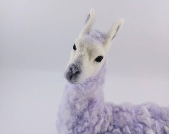 Llama worm, sitting llama, needle felted soft sculpture, can be used as a mini cushion