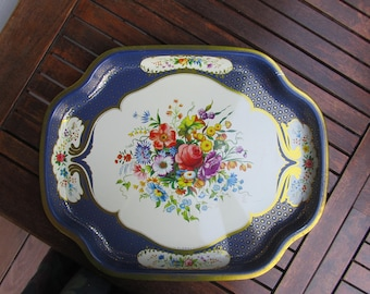 Metal Tray manufacturing Company English white and blue