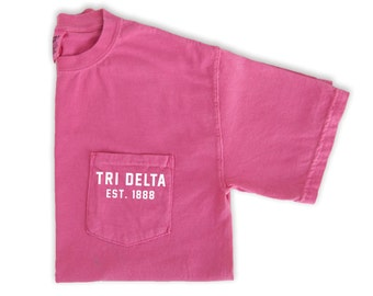 Delta Delta Delta Shirt, Delta Delta Delta Est. 1888, Tri Delta Sorority, Sorority Comfort Colors Pocket Tee, Big Little Sorority Gift