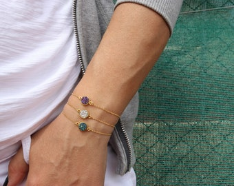 Round Bracelets, Minimal Bracelets, Round Stone Bracelets, Valentine's Day Gift, Made from Gold Plated 24k in Sterling Silver 925.