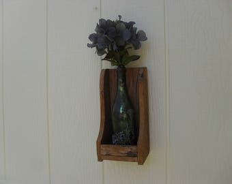 Reclaimed Wood Wall Vase Sconce Shelf Country Primitive Early American Rustic Farmhouse Decor
