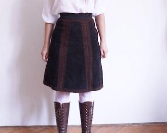 Rare 70s Skirt Howard Stone Genuine Leather 1970's Vintage Skirt High waist Leather Suede Skirt Crochet Boho Hippie skirt xsmall small / B