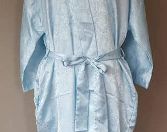 L / California Dynasty / Robe / Blue Jacquard / Vintage Lingerie / Kimono Style / Large
