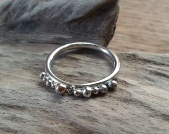 Sterling silver ring,recycled,size P,silver balls,handmafe,free uk shipping