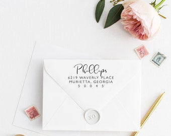 Custom Return Address Stamp, Self Ink Return Address Stamp, Personalized Address Stamp, Calligraphy Address Stamp Return Address Stamp No1