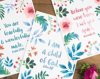 Nursery Bible Verse Print Set of 3 - Christian Gifts - Christian Prints - Nursery Decor - Bible Verse Prints - Nursery Print - Child Of God