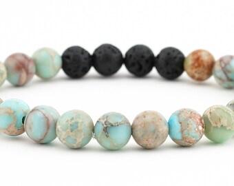Diffuser bracelet, lava bead bracelet, yoga bracelet, gemstone bracelet, aromatherapy jewelry, essential oils, stretch bracelet