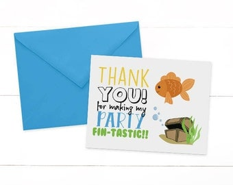 Goldfish Thank You Card - Fish Thank You Card - Ofishally One Birthday - Goldfish Birthday - Fish Birthday - First Birthday -SET OF 10
