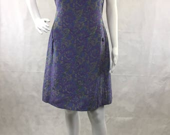 1960's Vintage Floral Purple Sheath Dress | Sun Dress | Clambake | Beach | Office Wear | Bridesmaid | Party | Size Extra Small to Small