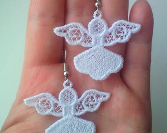 FSL jewelry Christmas Angel earrings, christmas tree decoration Free Standing Lace Machine Embroidery design 4x4hoop - 1 size, mini Angel