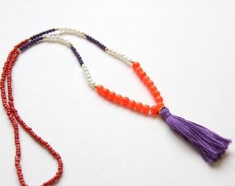 Clemson Tassel Necklace . Clemson University Color Jewelry . Purple and Orange Jewelry . Clemson Tigers Jewelry . Orange Necklace . Clemson