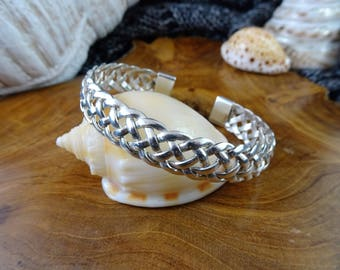 gorgeous woven 925 sterling silver bangle cuff